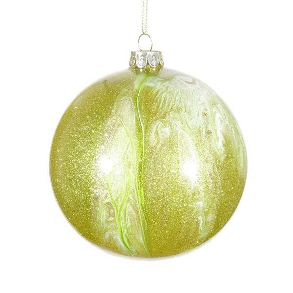 "Jim Marvin ""Malachite"" Glass Ball Ornament  100mm - Light Moss Green"