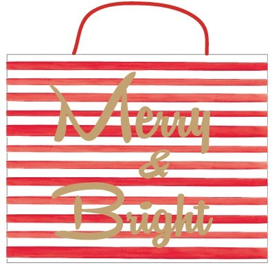 """Merry & Bright"" Red and White Stripe Christmas Gift Bag 