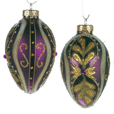 Purple Glass Faberge Ornament, CT-Christmas Tradition, Putti Fine Furnishings