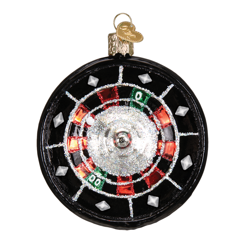 Old Word Christmas Roulette Wheel Glass Ornament