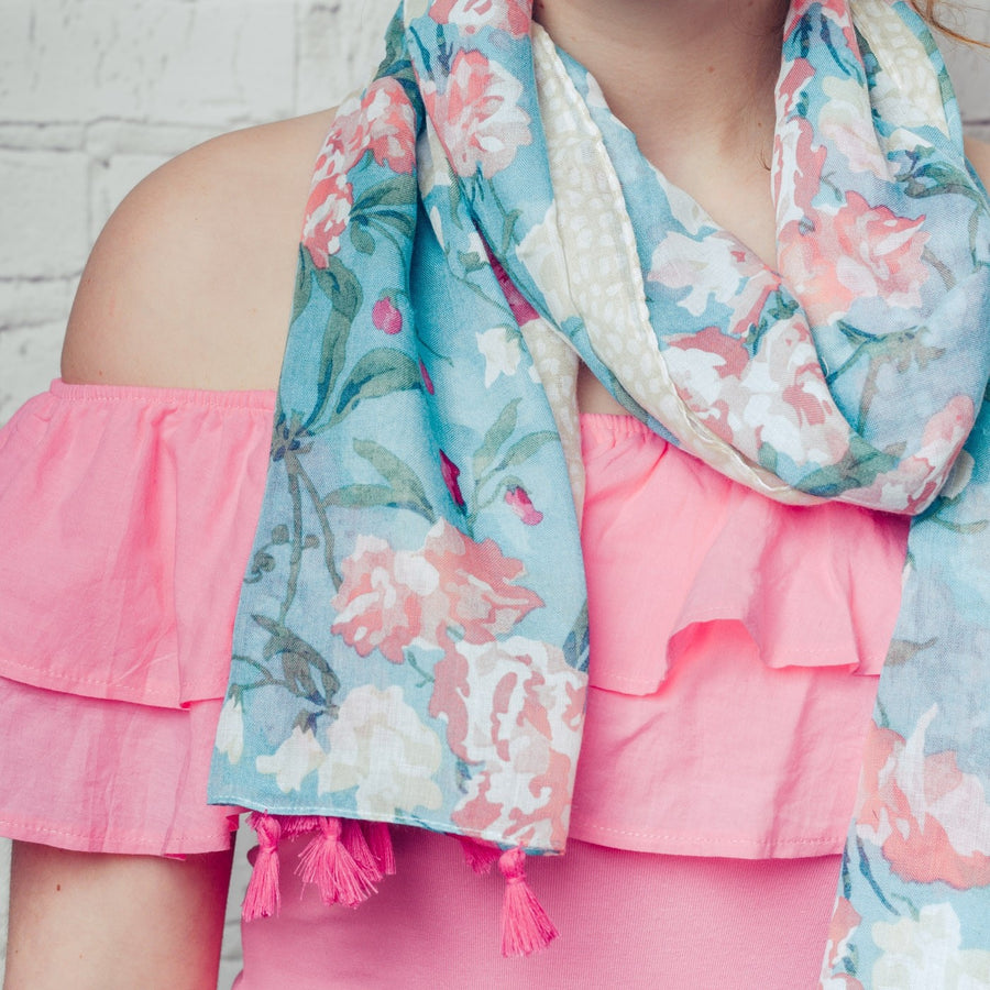 "Hazel & Pip ""Linda"" Turquoise Floral Scarf with Tassels, F&J-F & J Collection, Putti Fine Furnishings"