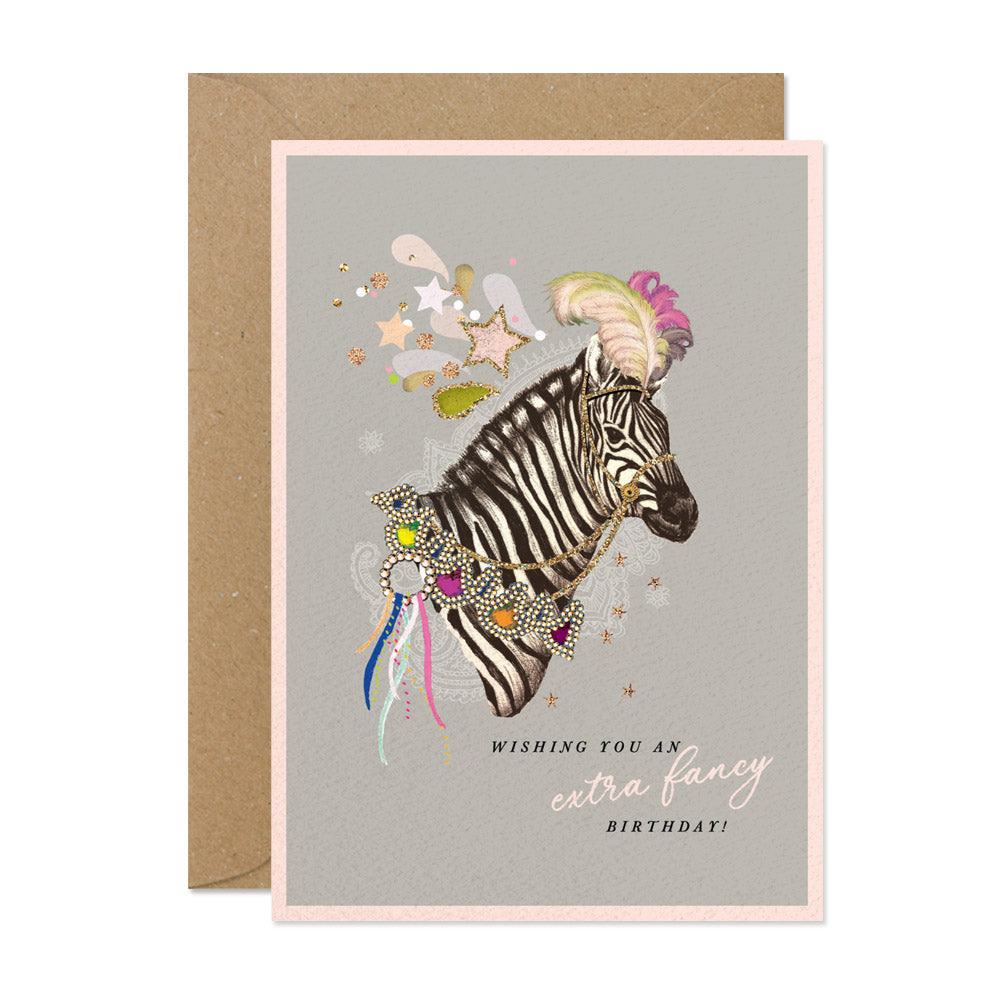 "Stephanie Davies ""Extra Fancy"" Zebra Birthday Greeting Card 