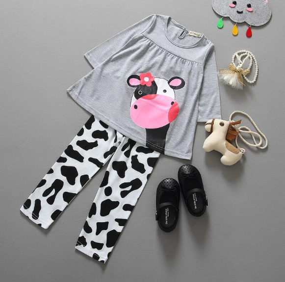 Newbabychic Baby Girl Clothes Two Pieces Set Cotton Cartoon Cow Full Sleeved+ Pants Children's Suit