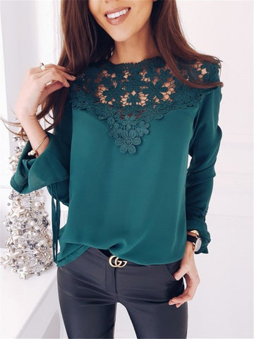 Green Lace Patchwork Round Neck Long Sleeve Fashion T-Shirt
