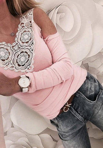 Pink Patchwork Lace Cut Out V-neck Long Sleeve Fashion T-Shirt