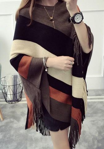 Coffee Striped Tassel Round Neck Pullover Cape