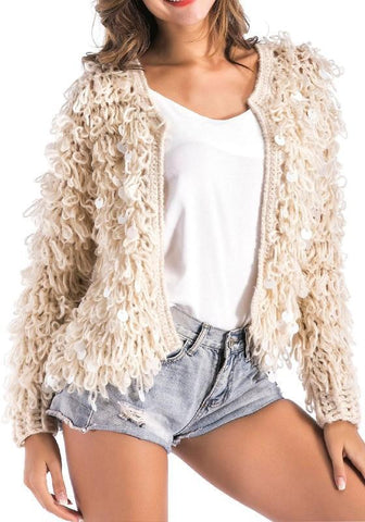 Apricot Patchwork Sequin Long Sleeve Fashion Cardigan Coat