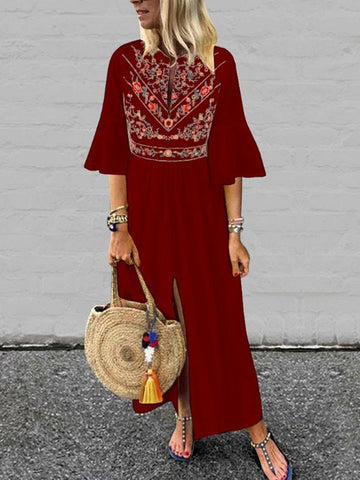 New Burgundy Maroon Embroidery Pleated Front Slit Bell Sleeve Mexico Bohemian Beachwear Maxi Dress