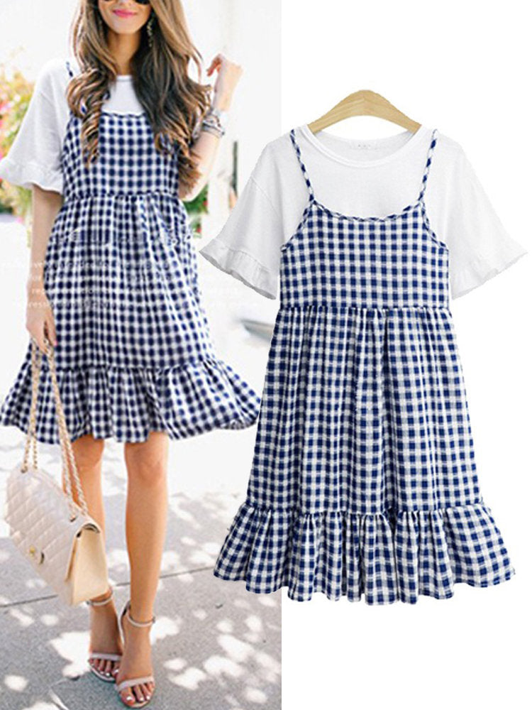 Newbabychic 2Pcs Pregnant Women Tops + Strap Dress Sets