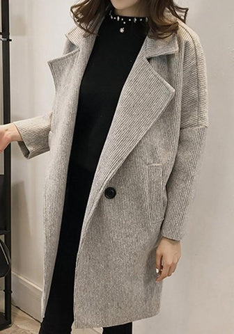 Grey Pockets Buttons Draped Oversize Turndown Collar Long Sleeve Coat