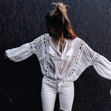 White Patchwork Drawstring Cut Out V-neck Long Sleeve Fashion Blouse