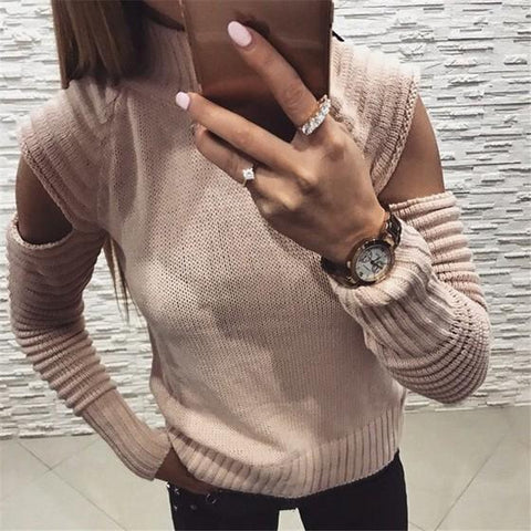 Pink Cut Out High Neck Long Sleeve Fashion Pullover Sweater