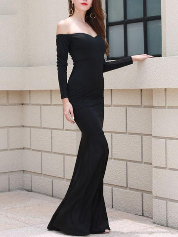 New Black Bandeau Hip Bodycon Off Shoulder Long Sleeve Elegant Maxi Dresses