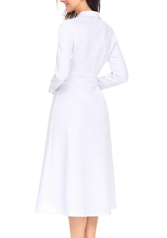 White Peacoat Pleated Formal Turndown Collar Long Sleeve Elegant Midi Dress