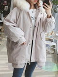 New Apricot Patchwork Bow Pockets Buttons Hooded Fashion Outerwear