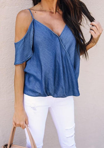 Blue Ruffle Spaghetti Strap Backless V-neck Going out Blouse