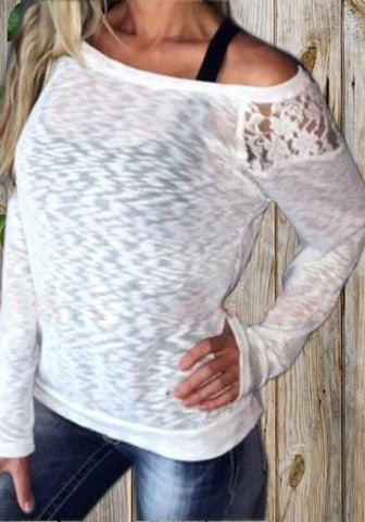 White Patchwork Lace Round Neck Long Sleeve Fashion T-Shirt