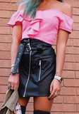 Pink Crop Ruffle Boat Neck Short Sleeve Slim T-Shirt