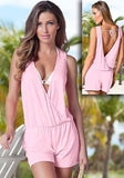 Pink Tie Back Backless Plunging Neckline Casual Short Jumpsuit