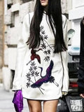 New White Floral Sequin Embroidery Band Collar Long Sleeve National Mini Dress