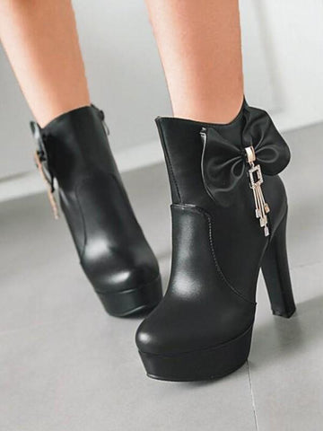 New Black Round Toe Chunky Sequin Rhinestone Bow Fashion Ankle Boots