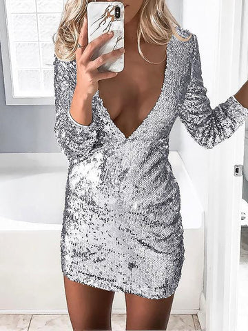 Silver Patchwork Sequin Skinny V-neck Party Mini Dress