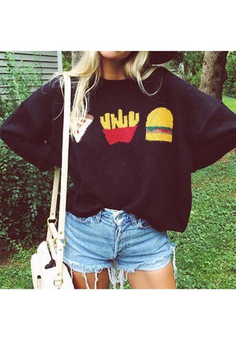 Black Cartoon Pattern Round Neck Streetwear Wool Pullover Sweater