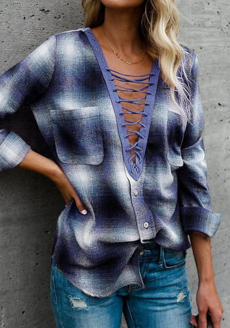 Blue Plaid Drawstring Pockets Buttons Plunging Neckline Blouse