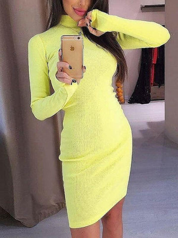 Yellow Plain High Neck Going out Party Mini Dress