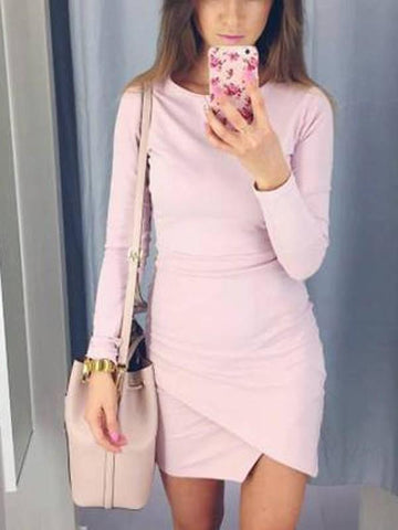 Pink Tiered Round Neck Long Sleeve Casual Mini Dress