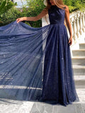 New Navy Blue Patchwork Sequin Grenadine Draped Cut Out Backless Round Neck Sleeveless Elegant Maxi Dress