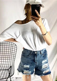 White Cut Out Pockets Round Neck Short Sleeve Fashion T-Shirt