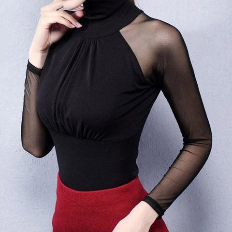 Black Patchwork Grenadine Pleated High Neck Long Sleeve T-Shirt