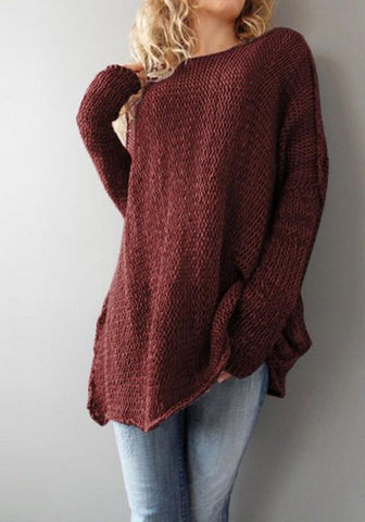 New Women Round Neck Long Sleeve Casual Loose Pullover Sweater