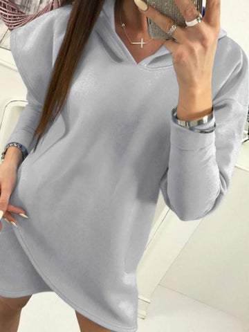 Grey Plain Irregular Hooded Going out Casual Mini Dress