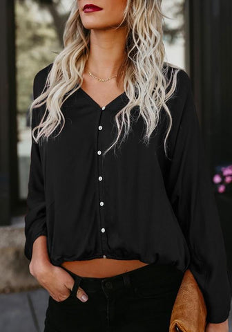Black Single Breasted V-neck Going out Casual Blouse