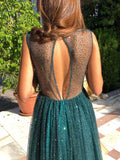 New Dark Green Patchwork Sequin Grenadine Draped Cut Out Backless Round Neck Sleeveless Elegant Maxi Dress