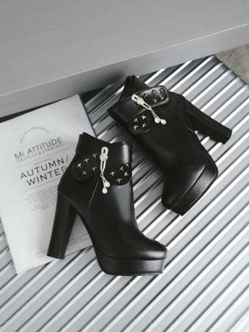 New Black Round Toe Chunky Rhinestone Rivet Fashion Ankle Boots