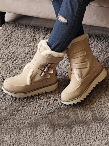New Brown Round Toe Flat Buckle Fashion Ankle Boots