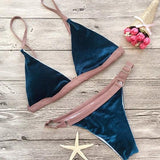 Blue Patchwork 2-in-1 Crop Condole Belt Plunging Neckline Slim Swimwear