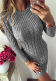 Grey Print Round Neck Fashion Pullover Sweater