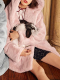 New Pink Cartoon Pockets Single Breasted Hooded Long Sleeve Cute Faux Fur Coat