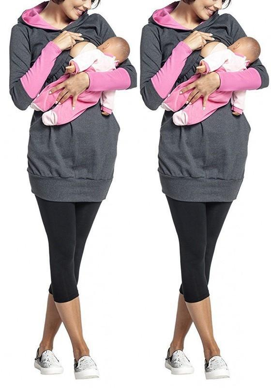 Dark Grey Pockets Breastfeeding Cut Out Hooded Casual Pullover Sweatshirt