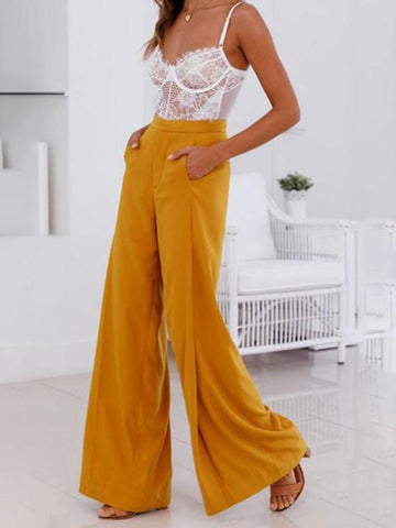 New Yellow Pockets Zipper Wide Leg High Waisted Fashion Casual Long Pants