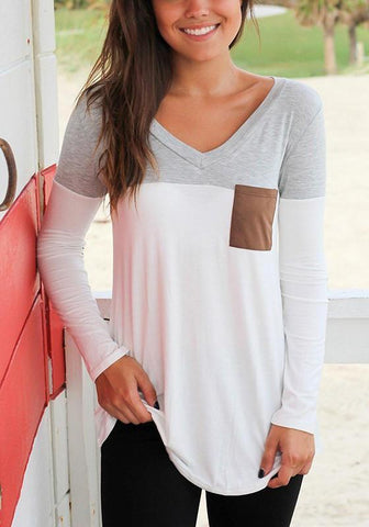 Grey Patchwork Pockets V-neck Long Sleeve Fashion T-Shirt