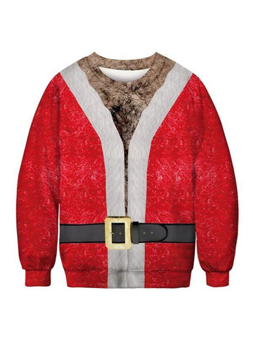 New Red Santa Claus Print Long Sleeve Round Neck Christmas Casual Sweatshirt