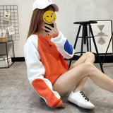 Orange Patchwork Print Round Neck Long Sleeve Casual Sweatshirt