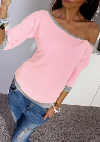 Pink Patchwork Boat Neck Three Quarter Length Sleeve Fashion T-Shirt