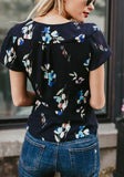 Black Flowers Print Sashes Irregular V-neck Short Sleeve Blouse