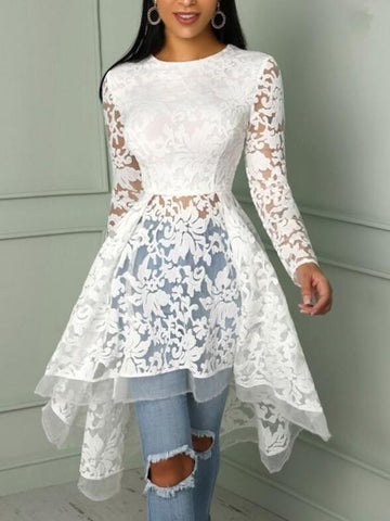 White Floral Lace Irregular High-low Skater Tutu Elegant Party Midi Dress